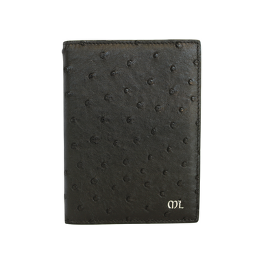 Black Ostrich Passport Holder