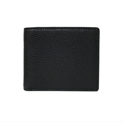 Black Pebbled Leather Classic Bifold Wallet