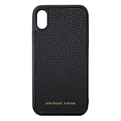 Black Pebbled Leather iPhone XS Max Case