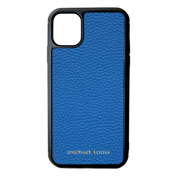 Blue Pebbled Leather iPhone 11 Case