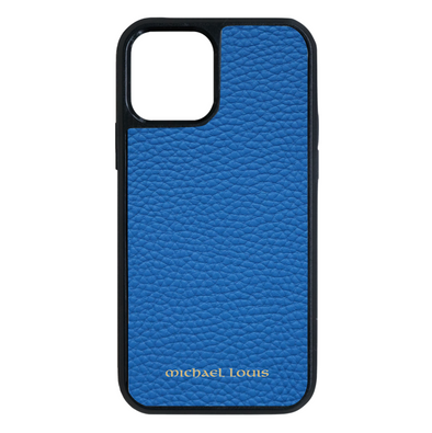 Blue Pebbled Leather iPhone 12 Pro Max Case