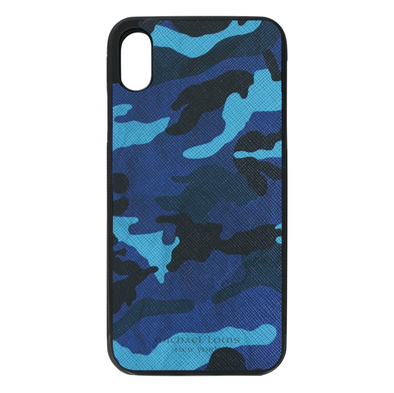 Blue Camo Leather iPhone XR Case