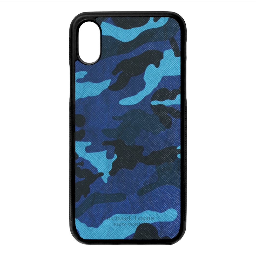 lowest price e4411 9a43d Blue Camo Leather iPhone X/XS Case