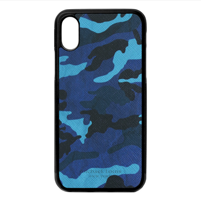 Blue Camo Leather iPhone X/XS Case