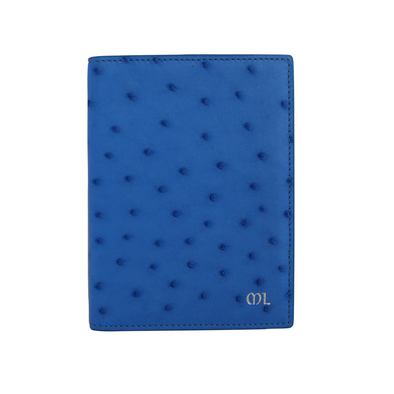 Blue Ostrich Passport Holder