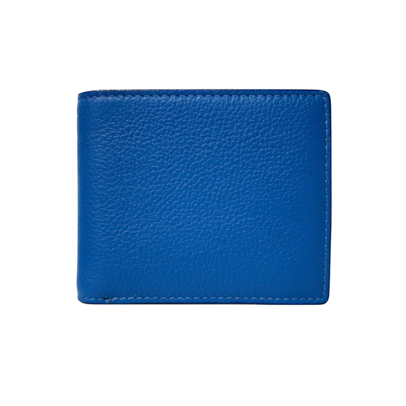 Blue Pebbled Leather Classic Bifold Wallet