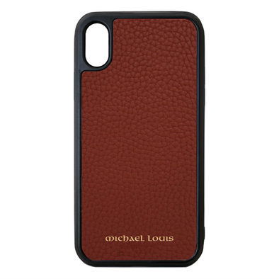 Brown Pebbled Leather Leather iPhone X/XS Case