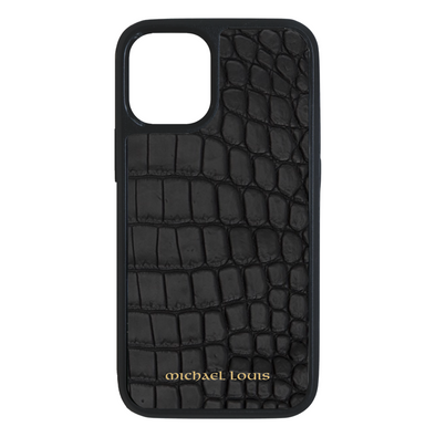 Genuine Matte Black Croc iPhone 12 Mini Case