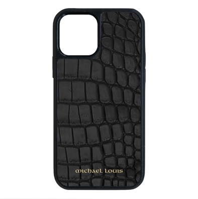 Genuine Matte Black Croc iPhone 12 / 12 Pro Case