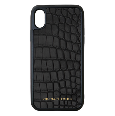 Genuine Matte Black Croc iPhone XR Case