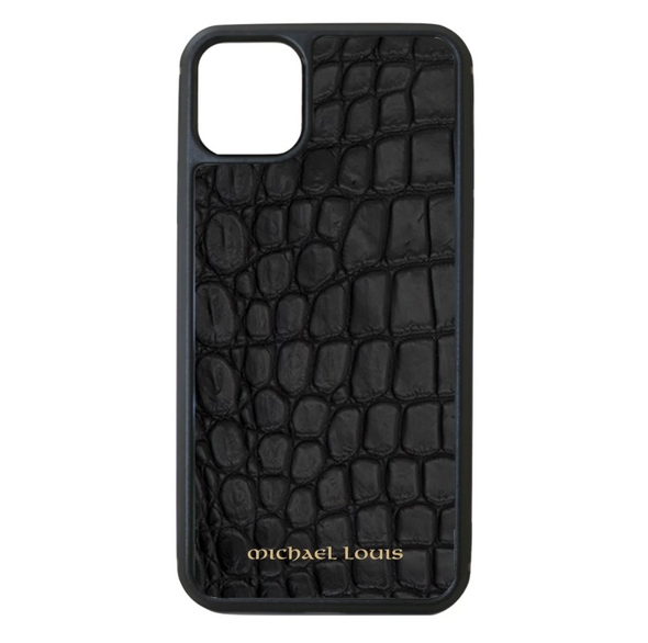 Genuine Matte Black Croc iPhone 11 Case