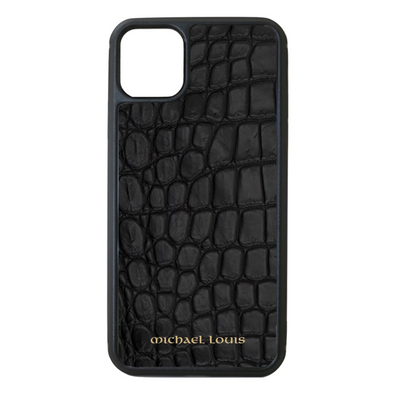 Genuine Matte Black Croc iPhone 11 Pro Max Case