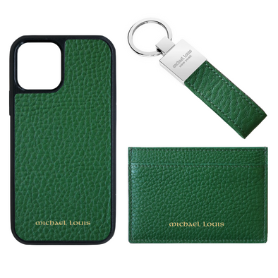 Green Pebbled Leather Card Holder Set
