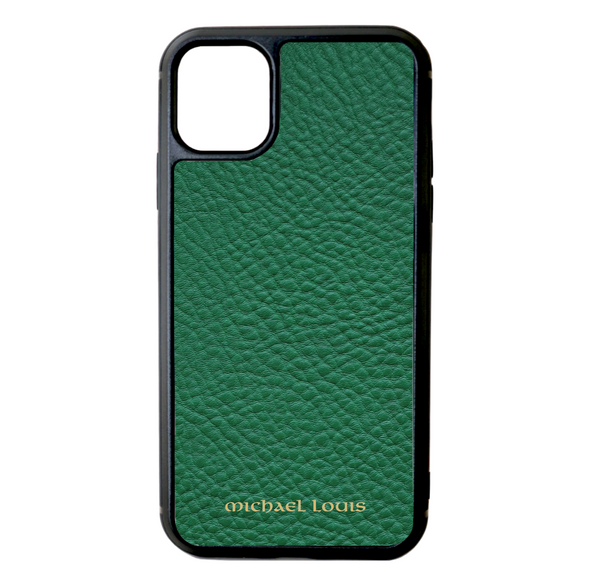 Green Pebbled Leather iPhone 11 Case