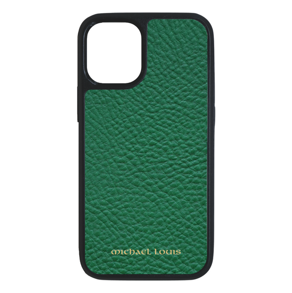 Green Pebbled Leather iPhone 12 Mini Case