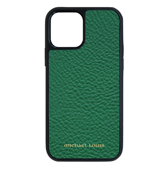 Green Pebbled Leather iPhone 12 / 12 Pro Case