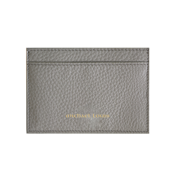 Grey Pebbled Leather Classic Card Holder