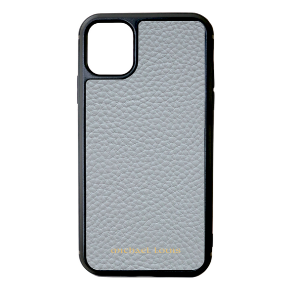 Grey Pebbled Leather iPhone 11 Case