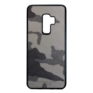 Grey Camo Leather Galaxy S9 Plus Case