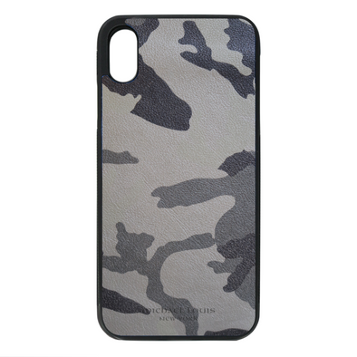 Grey Camo Leather iPhone XR Case