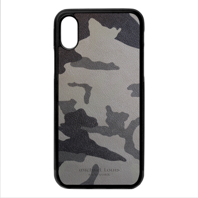Grey Camo Leather iPhone X/XS Case