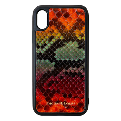 "Limited Edition Multicolor ""1"" Python Snakeskin iPhone X/XS Case"