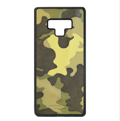 Neon Yellow Camo Leather Galaxy Note 9 Case