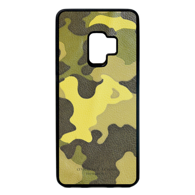 Neon Yellow Camo Leather Galaxy S9 Case