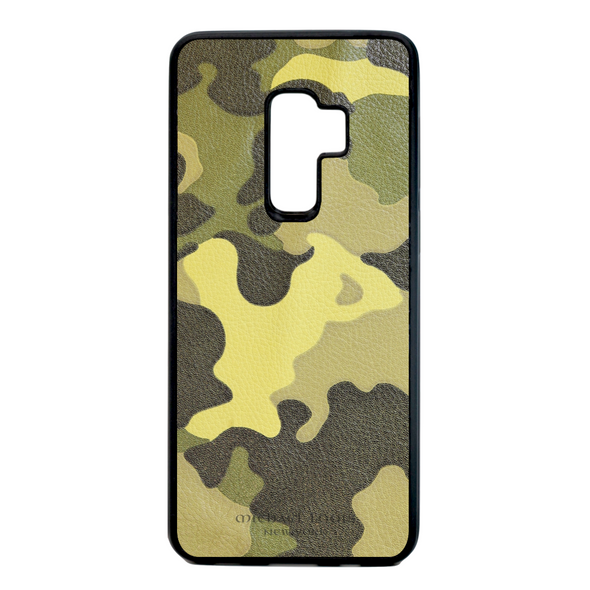 Neon Yellow Camo Leather Galaxy S9 Plus Case