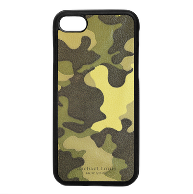 Neon Yellow Camo Leather iPhone 7 / 8 Case
