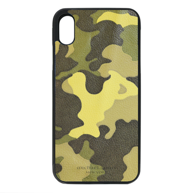 Neon Yellow Camo Leather iPhone XS Max Case