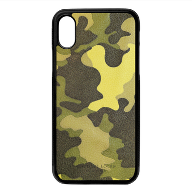 Neon Yellow Camo Leather iPhone X/XS Case