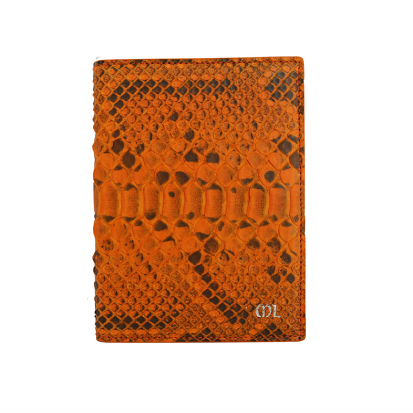 Orange Python Passport Holder