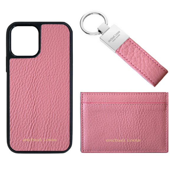 Pink Pebbled Leather Card Holder Set