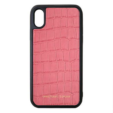 Pink Croc Embossed Leather iPhone XR Case by Michael Louis