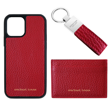 Red Pebbled Leather Card Holder Set