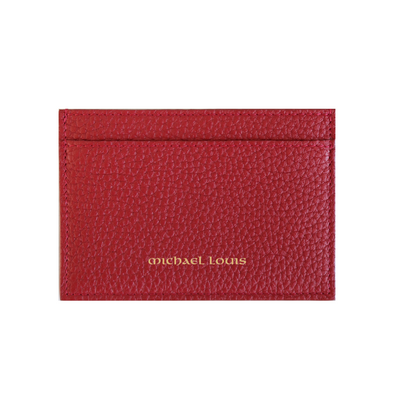 Red Pebbled Leather Classic Card Holder