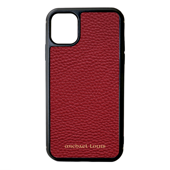 Red Pebbled Leather iPhone 11 Case