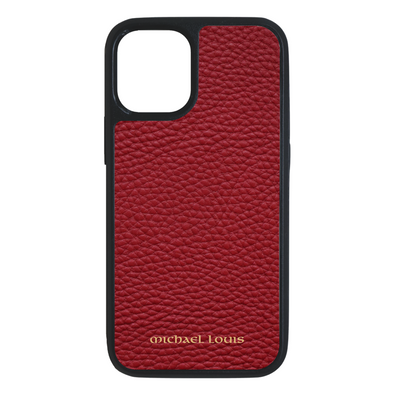 Red Pebbled Leather iPhone 12 Mini Case