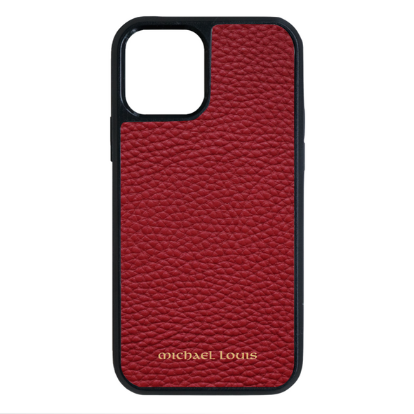Red Pebbled Leather iPhone 12 Pro Max Case