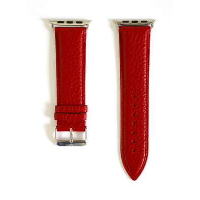 Red Pebbled Leather Apple Watch Strap (42/44 mm)
