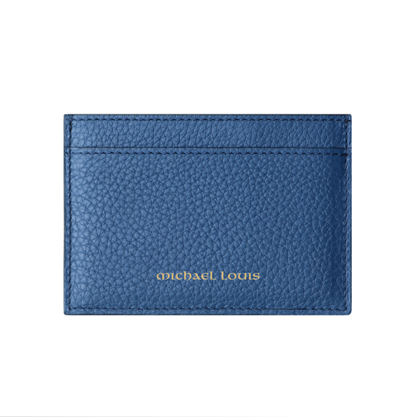 Slate Blue Pebbled Leather Classic Card Holder
