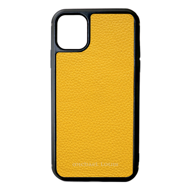Yellow Pebbled Leather iPhone 11 Case