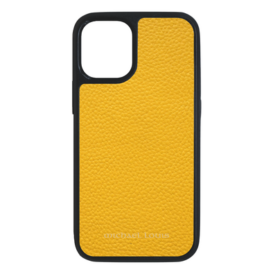 Yellow Pebbled Leather iPhone 12 Mini Case