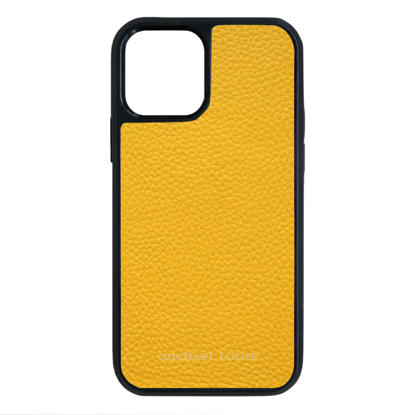 Yellow Pebbled Leather iPhone 12 / 12 Pro Case