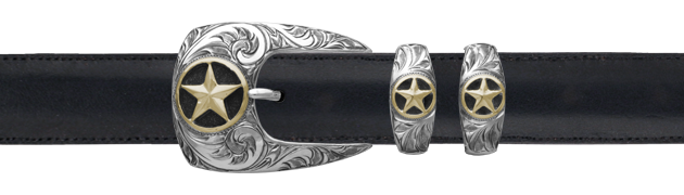 Engraved Stars Buckle and Two Keepers with 14k Overlay