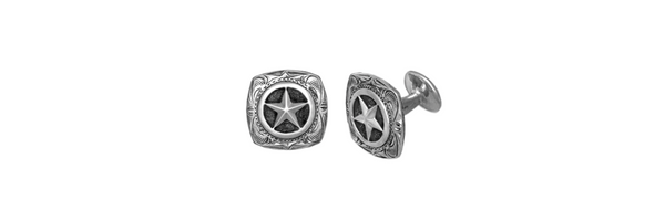 Engraved Square Sterling Silver Star Cufflinks (1 Pair)