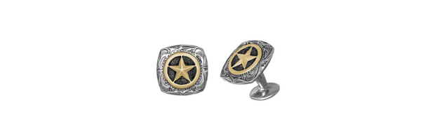 Engraved Square Sterling Silver Star Cufflinks with 14k Overlay (1 Pair)