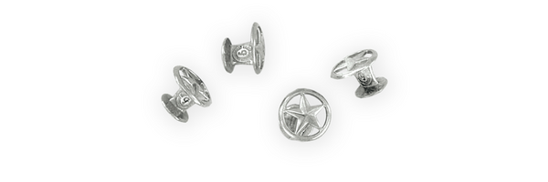 Open Star Shirt Studs, Sterling (Set of 4)
