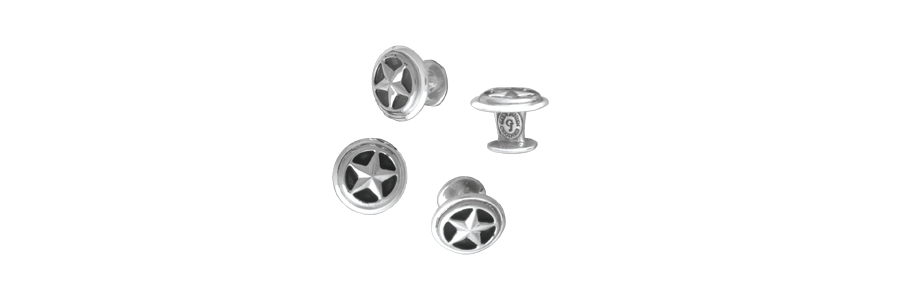 Closed Star Shirt Studs, Sterling (Set of 4)